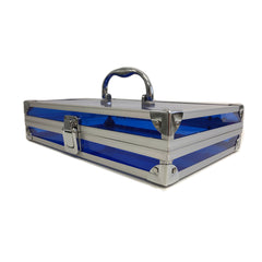 Blue, Sharp, Transparent Acrylic Travel Carrying Case - 22cm x 22cm x 7cm - Side View