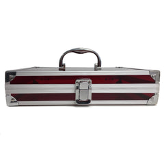 Red, Sharp, Transparent Acrylic Travel Carrying Case - 22cm x 22cm x 7cm