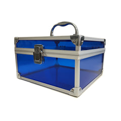 Blue, Sharp, Transparent Acrylic Travel Carrying Case - 22cm x 22cm x 13cm - Side View