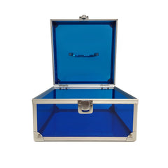 Blue, Sharp, Transparent Acrylic Travel Carrying Case - 22cm x 22cm x 13cm - Open
