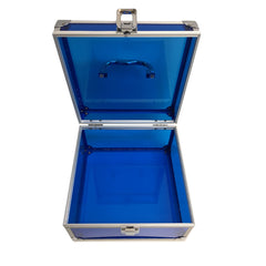 Blue, Sharp, Transparent Acrylic Travel Carrying Case - 22cm x 22cm x 13cm - Open Top View