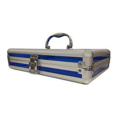 Blue, Rounded, Transparent Acrylic Travel Carrying Case - 22cm x 22cm x 7cm - Side View