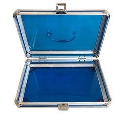 Blue, Rounded, Transparent Acrylic Travel Carrying Case - 22cm x 22cm x 7cm - Open