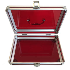 Red, Rounded, Transparent Acrylic Travel Carrying Case - 22cm x 22cm x 7cm -Open