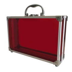 Red, Sharp, Transparent Acrylic Travel Carrying Case - 30cm x 20cm x 9cm - Side View