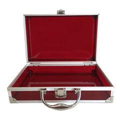 Red, Sharp, Transparent Acrylic Travel Carrying Case - 30cm x 20cm x 9cm - Open