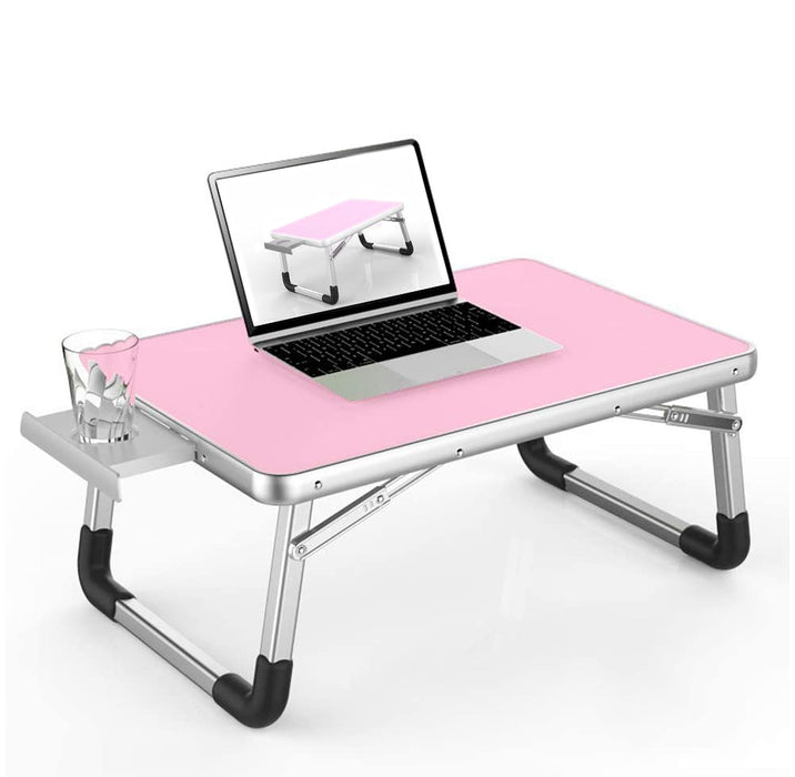 Laptop Desk Bed Table Foldable Tray - for Eating, Writing, Drawing, & Computing - Pink