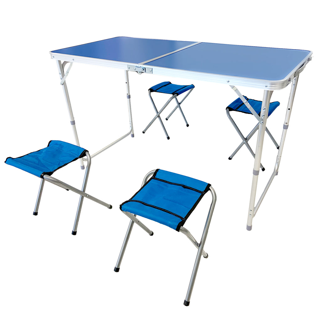 Portable Folding Outdoor Picnic Party Dining Camping Table with 4 Folding Stools