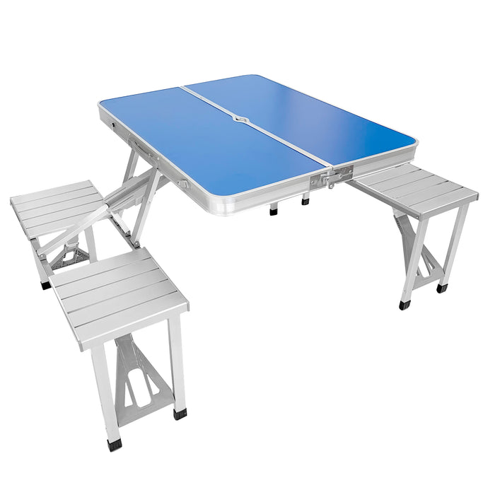 Portable Folding Picnic Table: Outdoor Aluminium Foldable Table w/ 4 Bench Seats