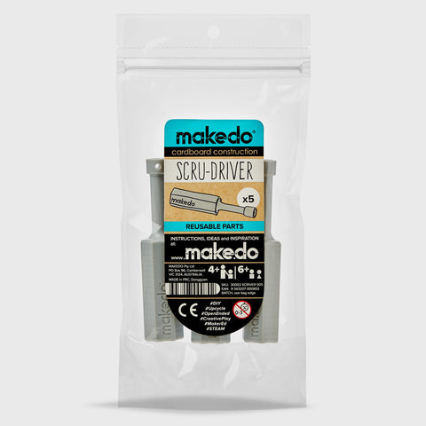 SCRU-DRIVER 005 -Top up your Makedo cardboard construction tools with:  5x Makedo SCRU-DRIVER