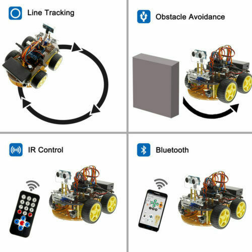 OKY5005 Robot Car Kit: Ultrasonic Obstacle/Fall Avoidance, Line Tracking, IR Control Smart Car