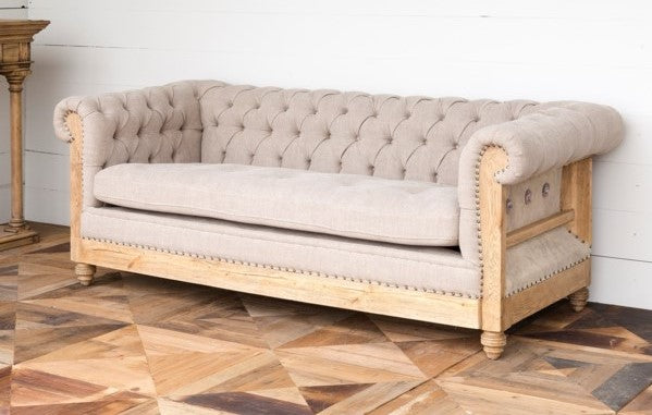 Park Hill Collection Capital Hotel Chesterfield Sofa, reconstructed exposed frame tufted sofa