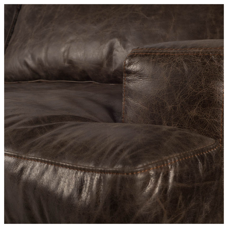 distressed leather and wood chair, modern brown leather and wood chair restoration hardware