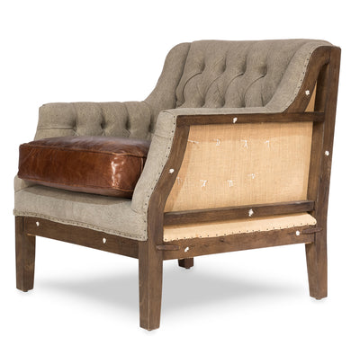 deconstructed leather club chair, Tilberg deconstructed tufted chair with leather