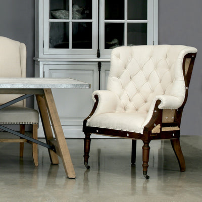 tufted deconstructed irish wing chair, deconstructed furniture for sale