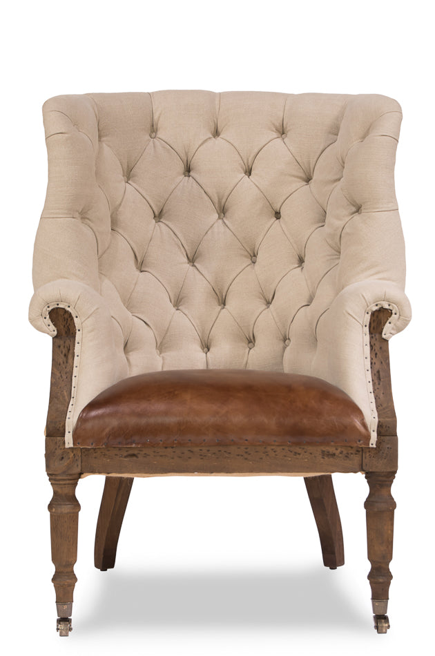 Deconstructed English Wing Chair, Leather Seat