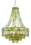 Vintner Chandelier Currey and Company, Vintage Green Glass Chandelier