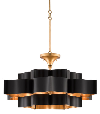 currey and co lights for sale, grand lotus black and gold chandelier