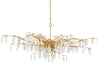 currrey and company forest dawn chandalier, gold and hanging crystals chandelier for sale