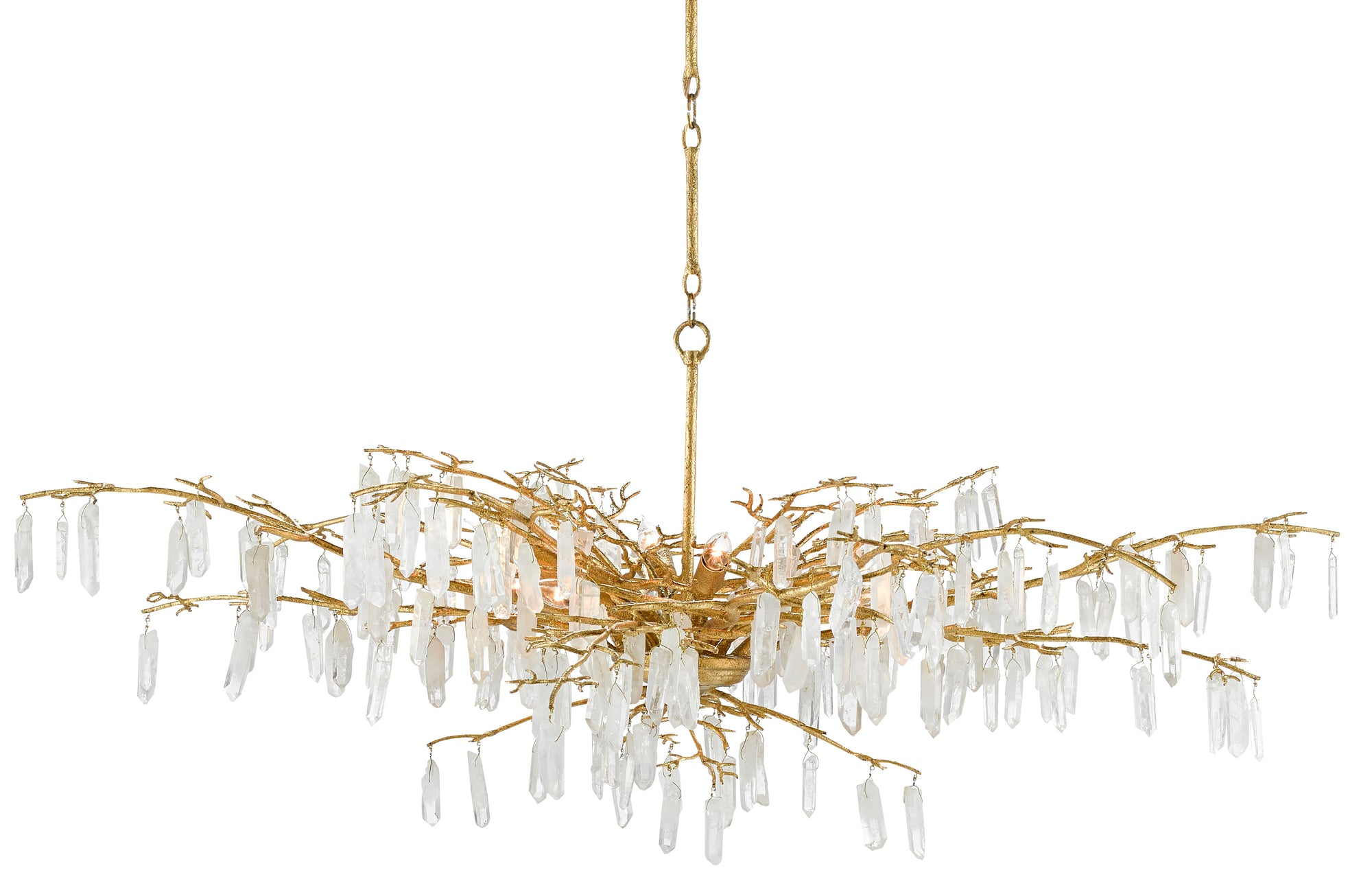 Forest Dawn Crystal Chandelier Currey and Company, Modern Crystal and Gold Chandeliers for sale