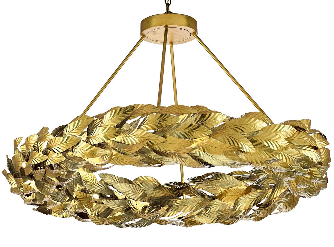 currey and company Apollo Chandelier Large, Gold Leaf chandelier for hotels