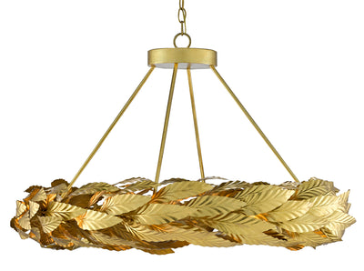 Currey and Company Apollo Chandelier Small, Circular Gold Leaf chandelier for hotels