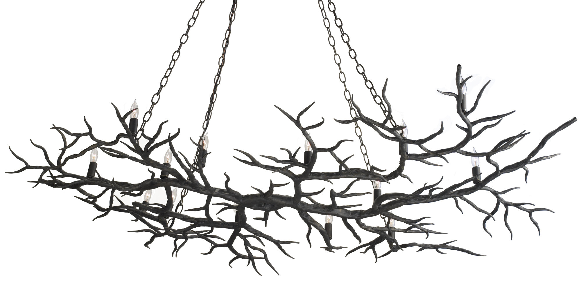 iron rainforest chandelier currey and company, iron tree branch chandelier