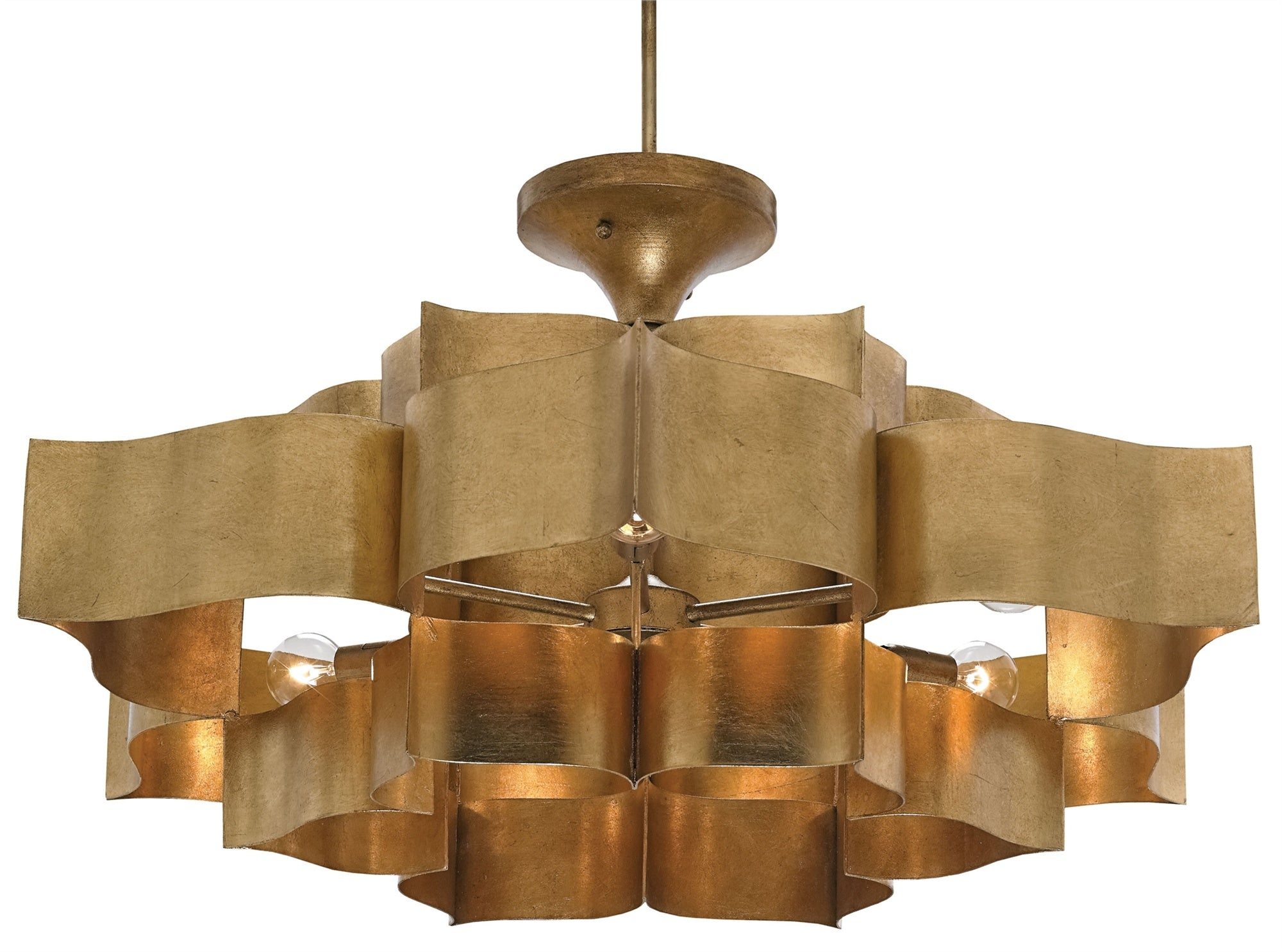Currey And Company Grand Lotus Chandelier Gold Leaf Modern For