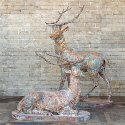 estate cast iron stag statues for sale, Iron Garden deer and stag statues for sale