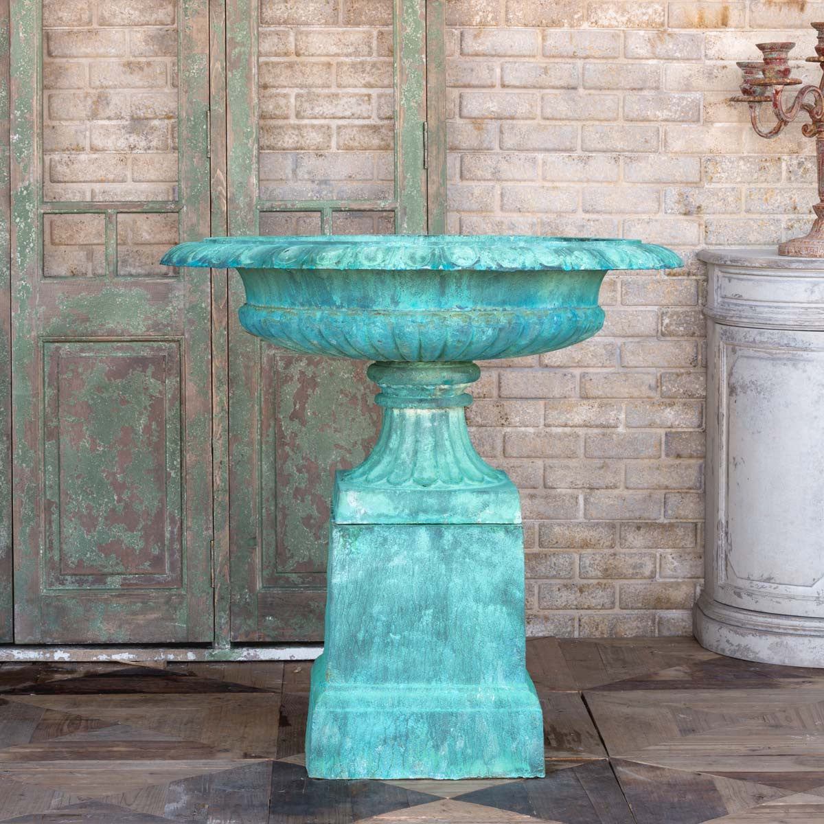 park hill collection cast iron estate urn with pedestal, restoration hardware outdoor estate urns