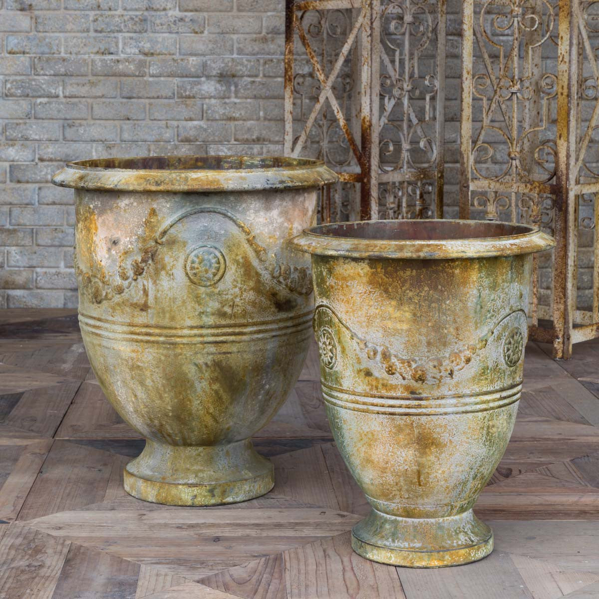 faux metal estate planters for sale, Restoration hardware garden planters for sale