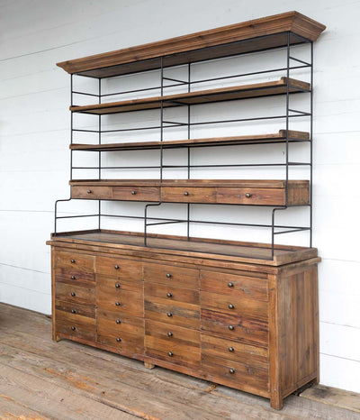 park hill collection old pine double backers rack, old vintage store wood and iron baker's rack