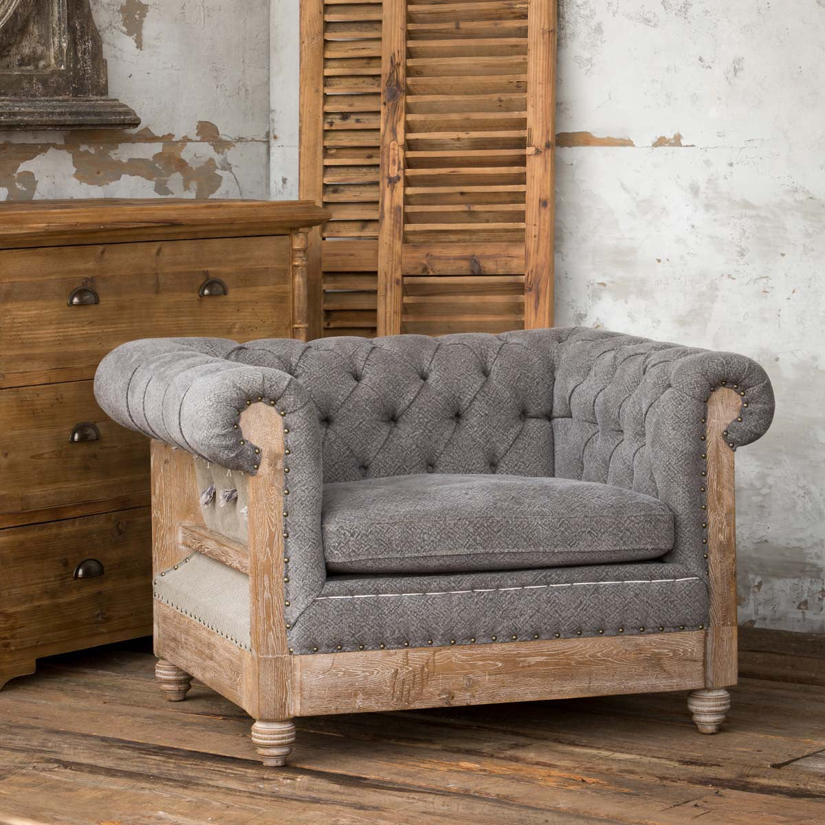 Park Hill Capital Hotel Chesterfield Chair, Parker Tavern deconstructed exposed frame blue tufted chair