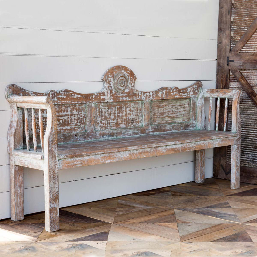 Aged French Country Bench Park Hill Collection. Distressed wood bench pottery barn
