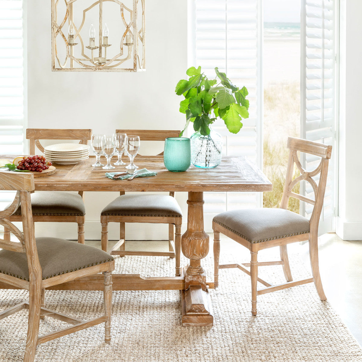 White Washed Column Table PARK HILL, White washed farmhouse tables for sale