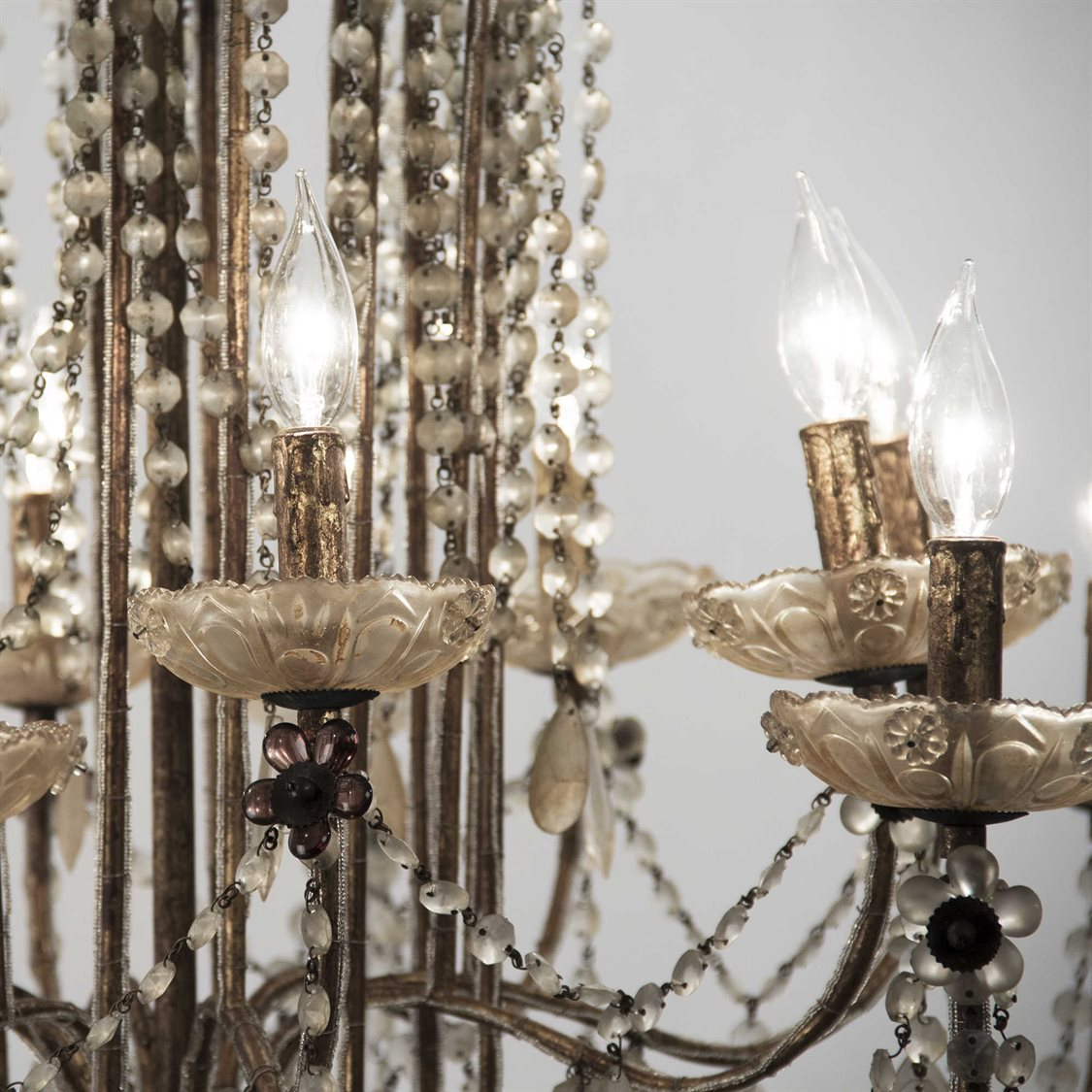 large antique gold and crystal chandelier for sale, vintage gold lief crystal chandelier for sale