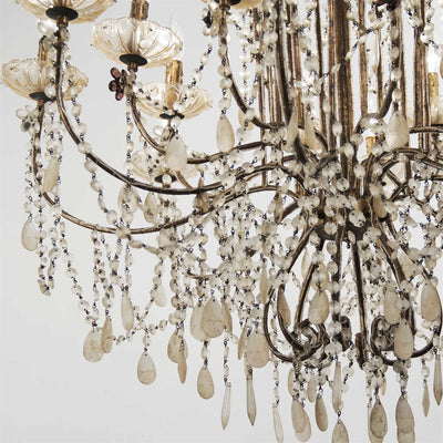 currey and company antiqued crystal chandelier for sale