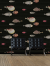 modern black Acquario Wallpaper for walls- imported nautical wallpaper for sale