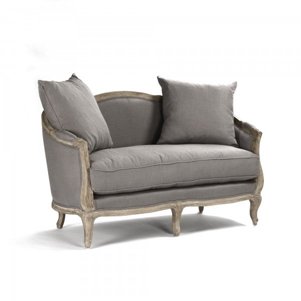 french grey linen settee for sale, french loveseat in grey for sale