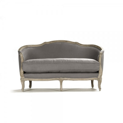 carved wood french settee for sale, french style linen love seat