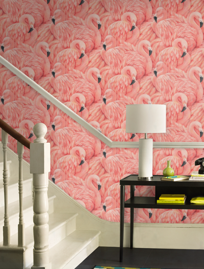 Large Flamingo Wallpaper, mid century modern pink wallpaper for sale
