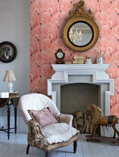modern pink flamingo wallpaper for hotels, modern wallpaper for hotel walls for sale