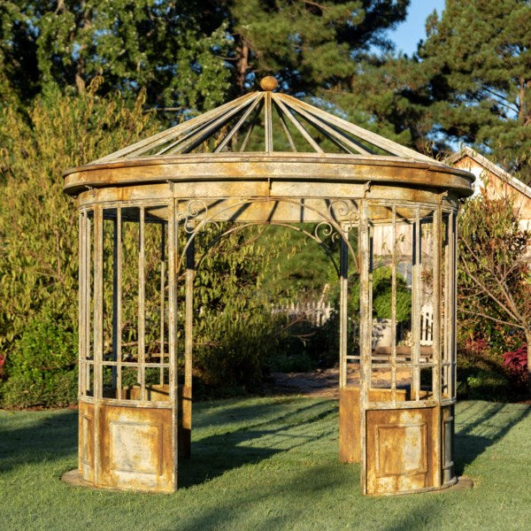 Aged Metal Gazebo Park Hill Collection, rustic antique gazebo for garden for sale