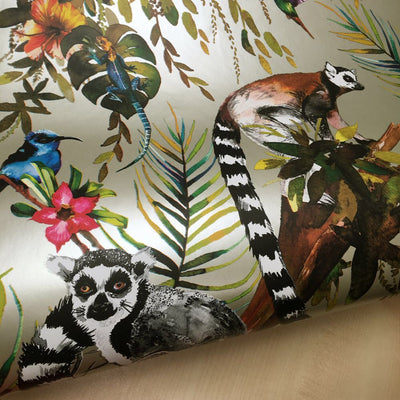 Madagascar Wallpaper Metallic Silver