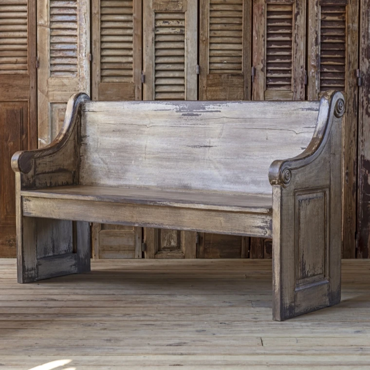 Park Hill Vintage Chapel Bench for sale, Antiqued Church Pew Bench for sale