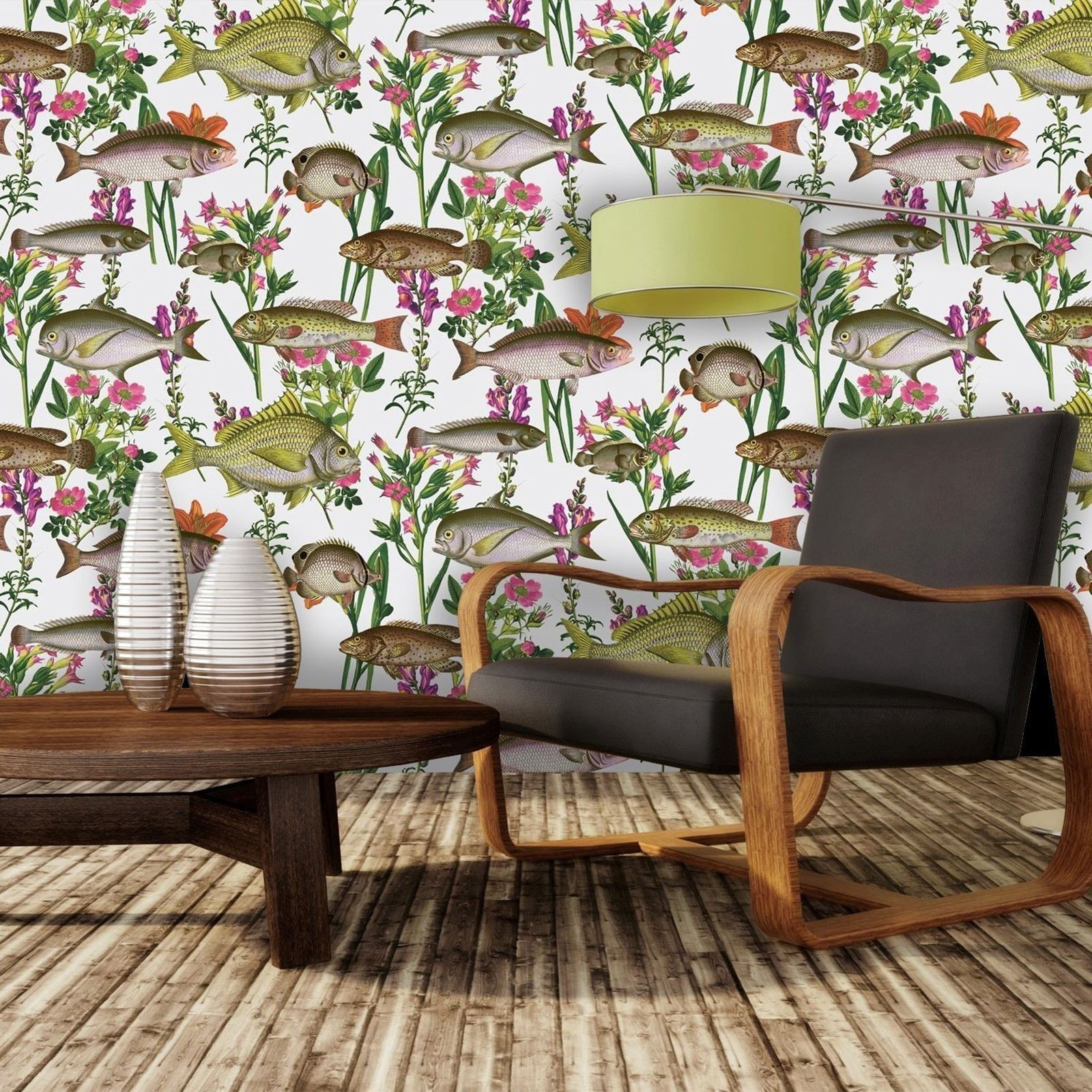 Fish Bayside Wallpaper In White The Alley Exchange