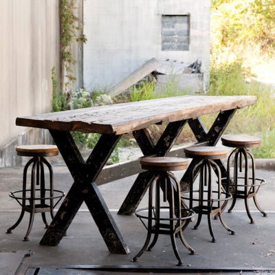 park hill collection industrial wood table and stools, park hill collection factory table and stools for sale