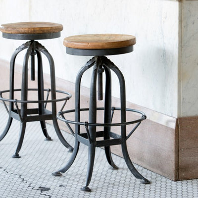 Park Hill Industrial Factory Stools Set Of 2, Iron and wood factory stools with foot rest for sale