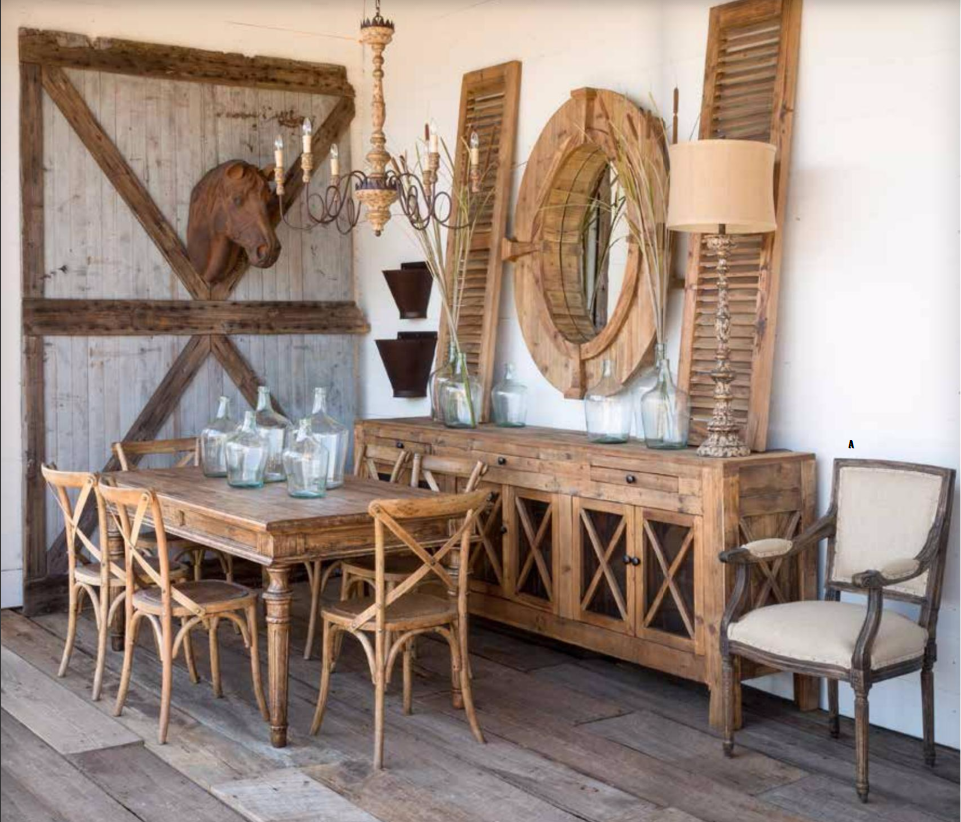 Wooden Farmhouse Furniture Park Hill Collection, Rustic Farmhouse Dining  Table And Chairs