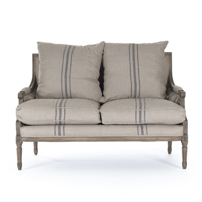 french striped wood and linen love seat for sale, pottery barn farmhouse furniture for sale